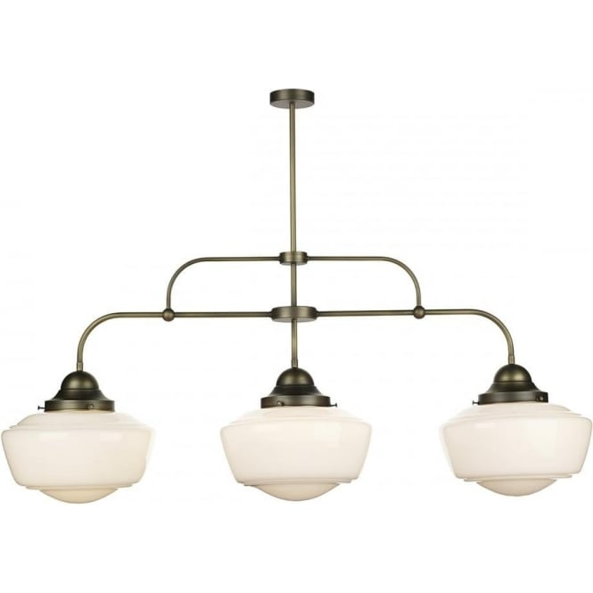 Artisan Lighting STOWE vintage 3 light bar ceiling pendant with opal schoolhouse glass shades