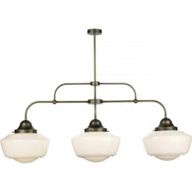 STOWE vintage 3 light bar ceiling pendant with opal schoolhouse glass shades