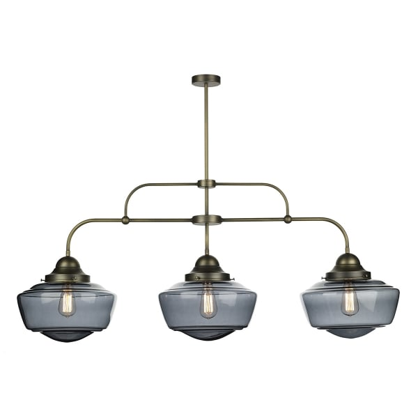 3 Light Bar Pendant Suspension With Smoked Glass School