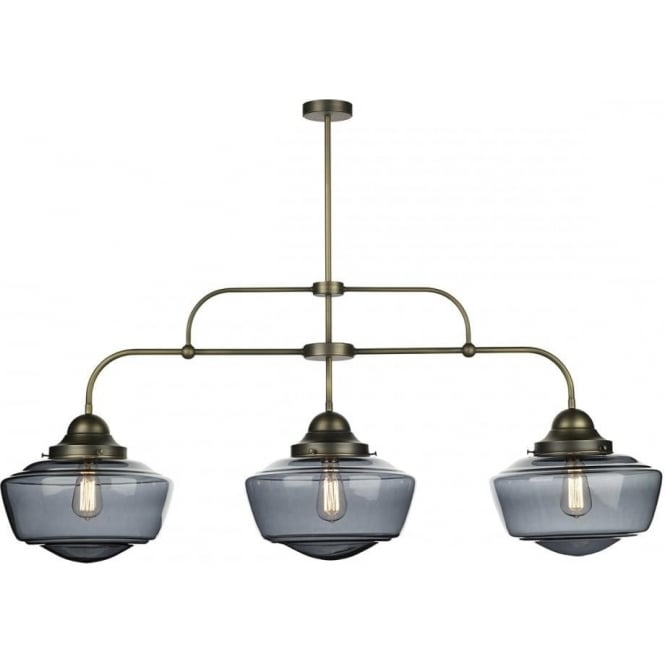 Artisan Lighting STOWE vintage 3 light bar ceiling pendant with smoked glass schoolhouse shades