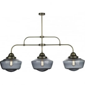 STOWE vintage 3 light bar ceiling pendant with smoked glass schoolhouse shades