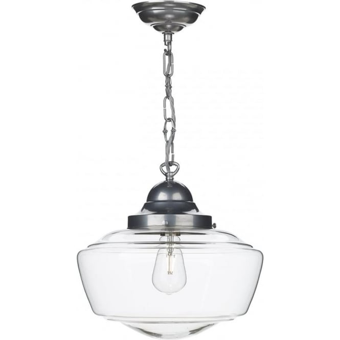 schoolhouse pendant light vintage schoolhouse pendant on satin chrome chain clear 10441