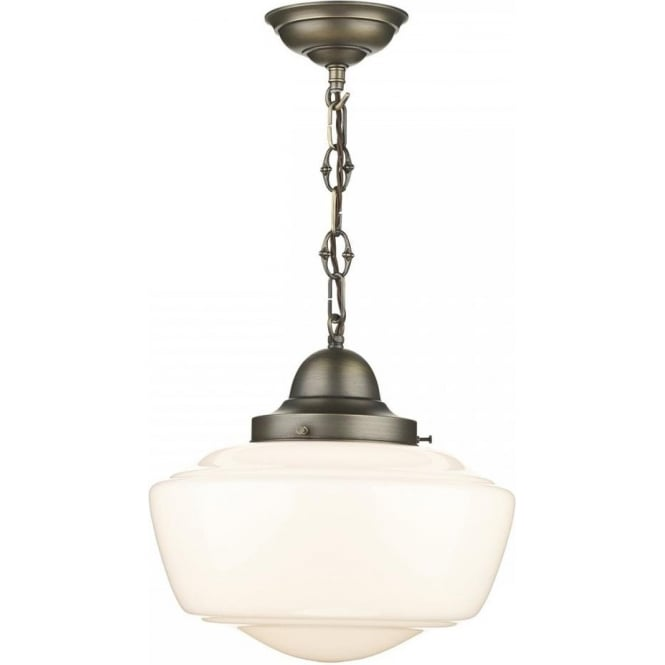 Artisan Lighting STOWE vintage schoolhouse ceiling pendant with opal glass shade
