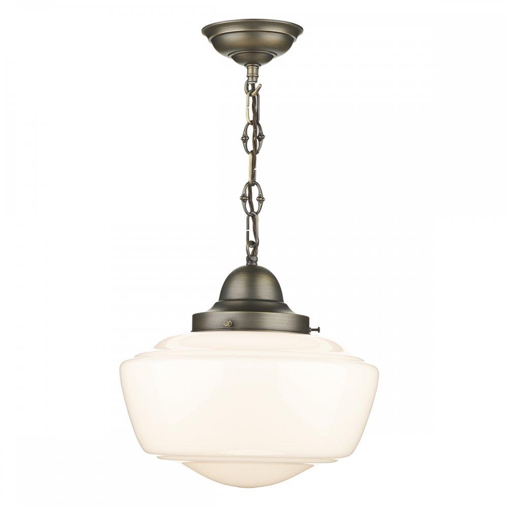 Nostalgic schoolhouse ceiling pendant light with opal Artisan glass pendant lights