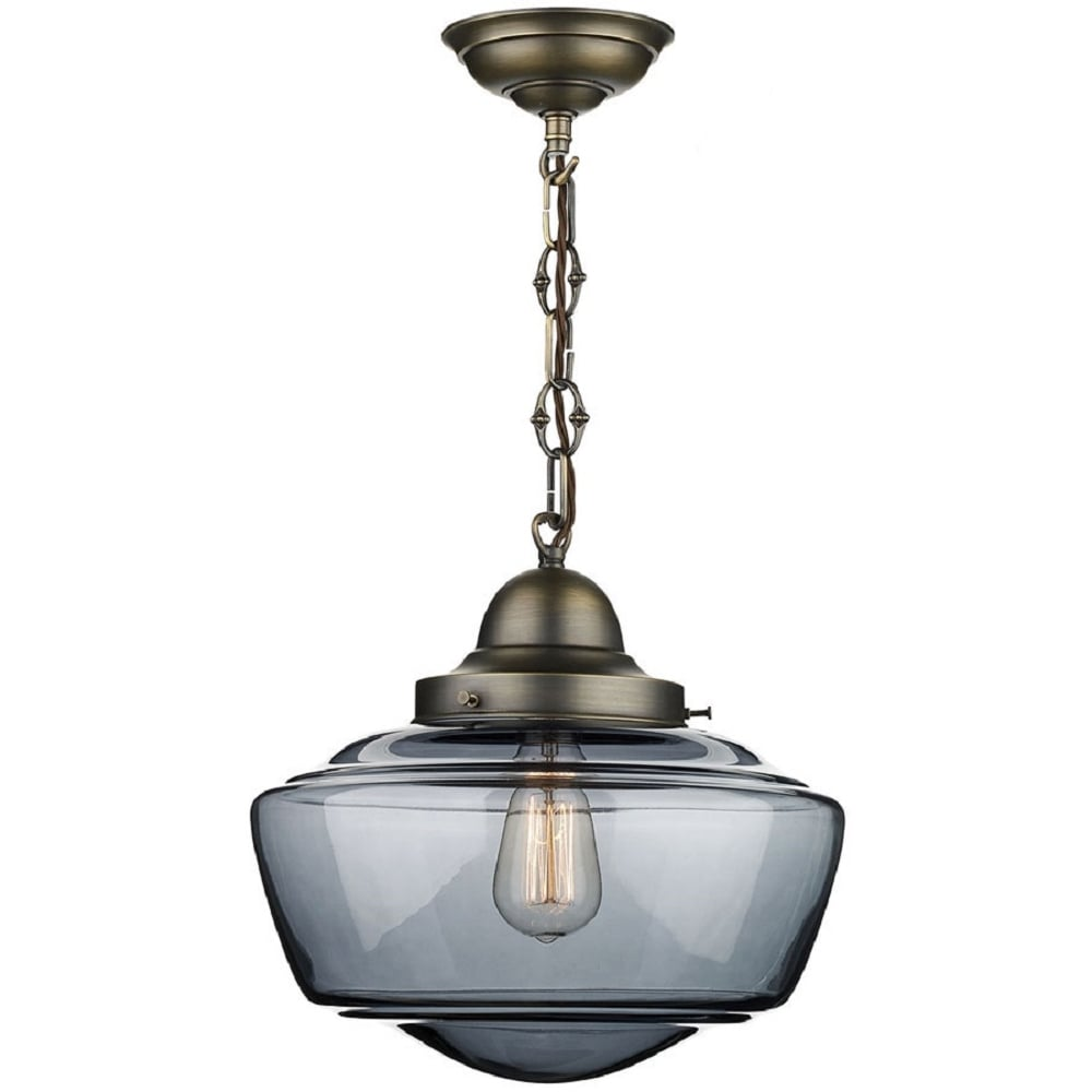 Stowe Vintage Schoolhouse Ceiling Pendant With Smoked Glass Shade
