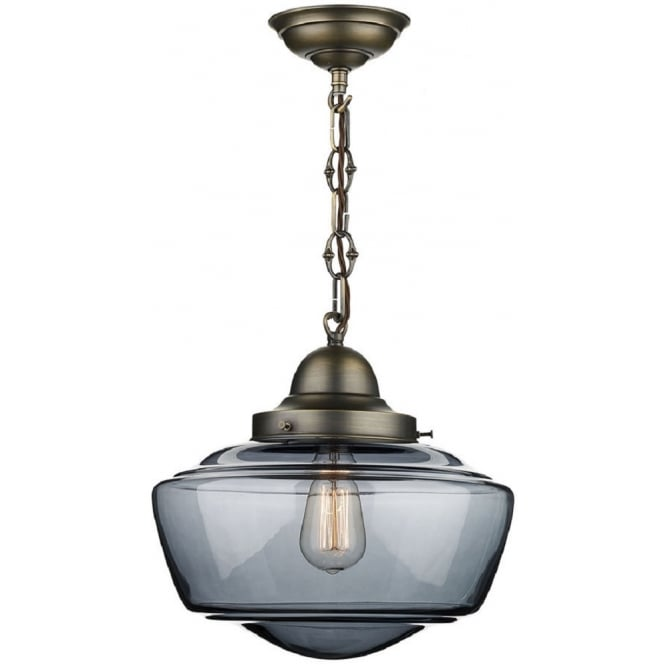 Artisan Lighting STOWE vintage schoolhouse ceiling pendant with smoked glass shade