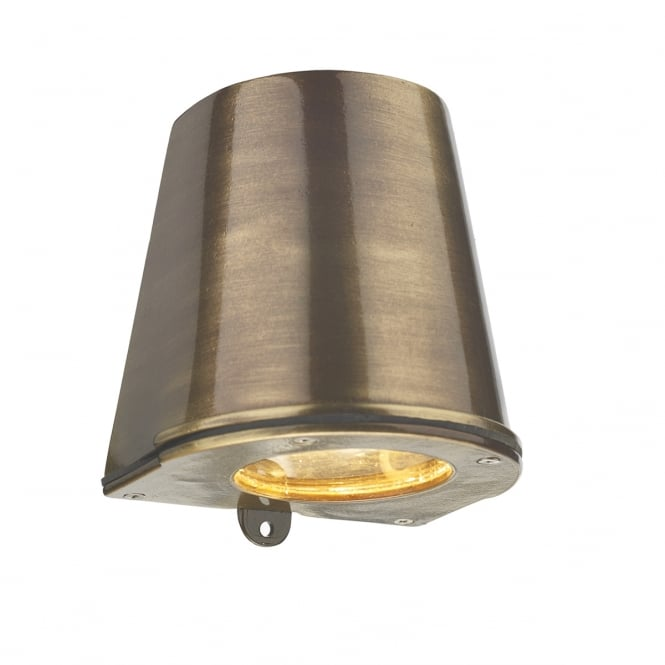 Artisan Lighting STRAIT flush fitting outdoor wall light in solid brass with antique finish