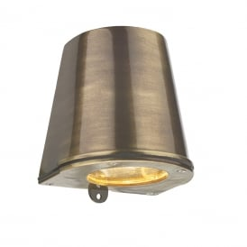 STRAIT flush fitting outdoor wall light in solid brass with antique finish
