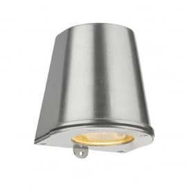 STRAIT flush fitting outdoor wall light in solid brass with nickel finish