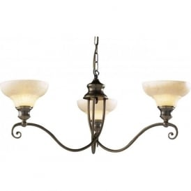 STRATFORD 3 light aged brass ceiling light, marbled glass shades