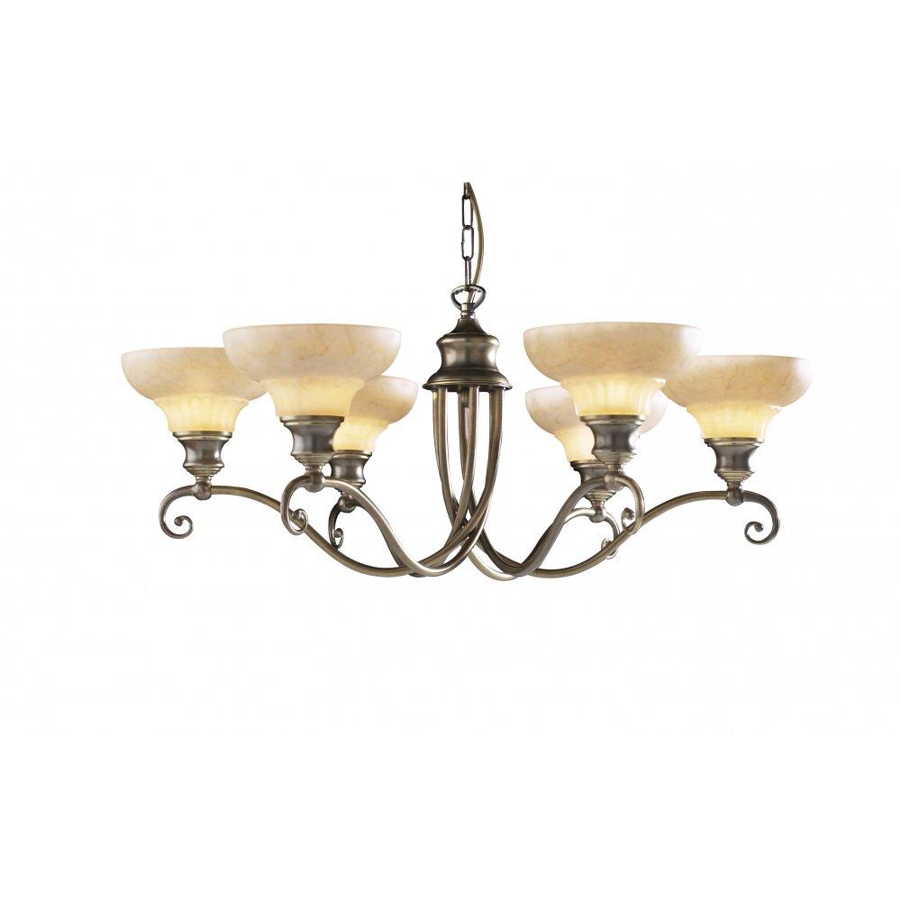 Artisan STRATFORD 6 Light Ceiling Pendant Aged Brass ...
