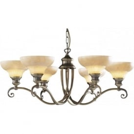 STRATFORD aged brass ceiling light with marbled glass shades