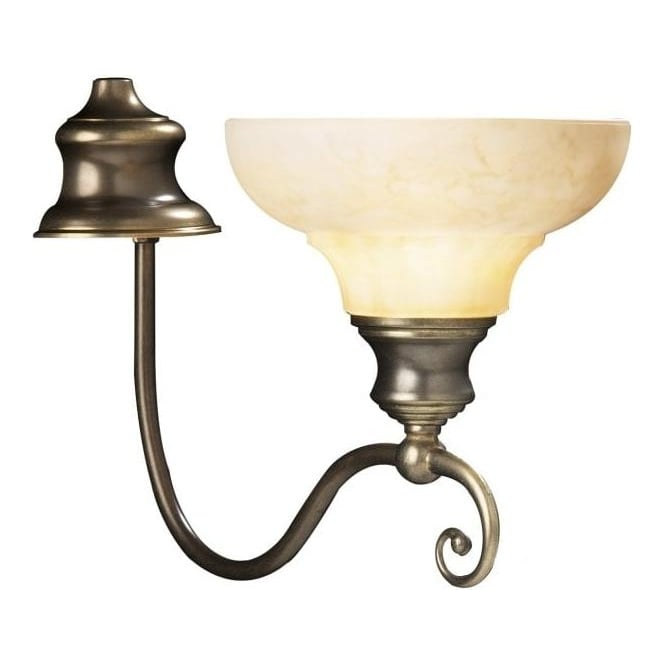 Brass Wall Lights With Shades : Elegant Wall Light, Marbled Glass Shade Antiqued Brass Scroll Work