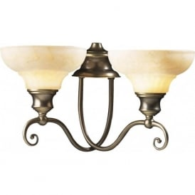 STRATFORD twin aged brass wall light with marbled glass shades