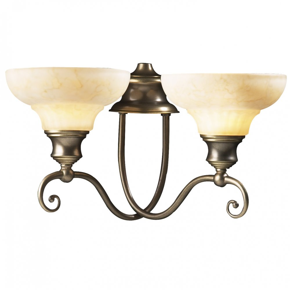 Wall Lights Without Shades : STRATFORD Twin Wall Light Aged Brass, Marbled Glass Shades