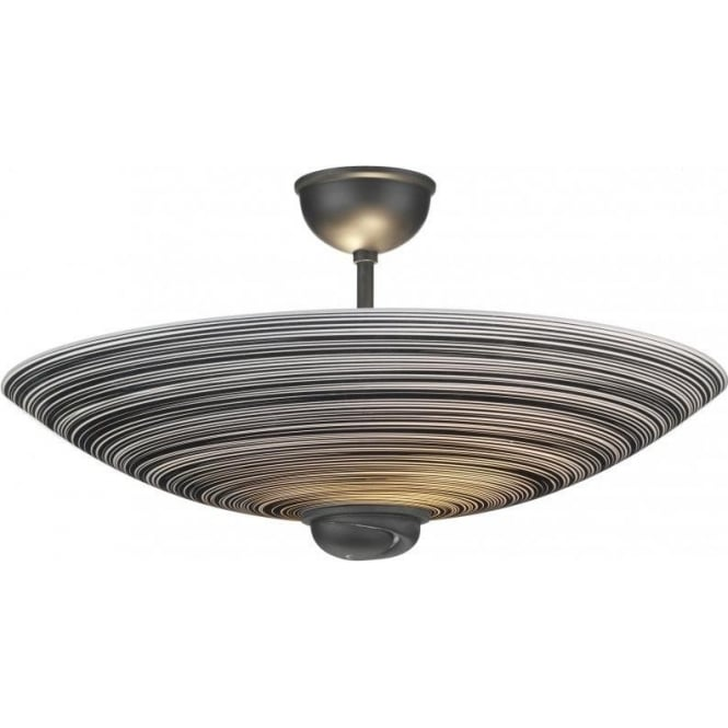 Artisan Lighting SWIRL black glass uplighter for low ceilings