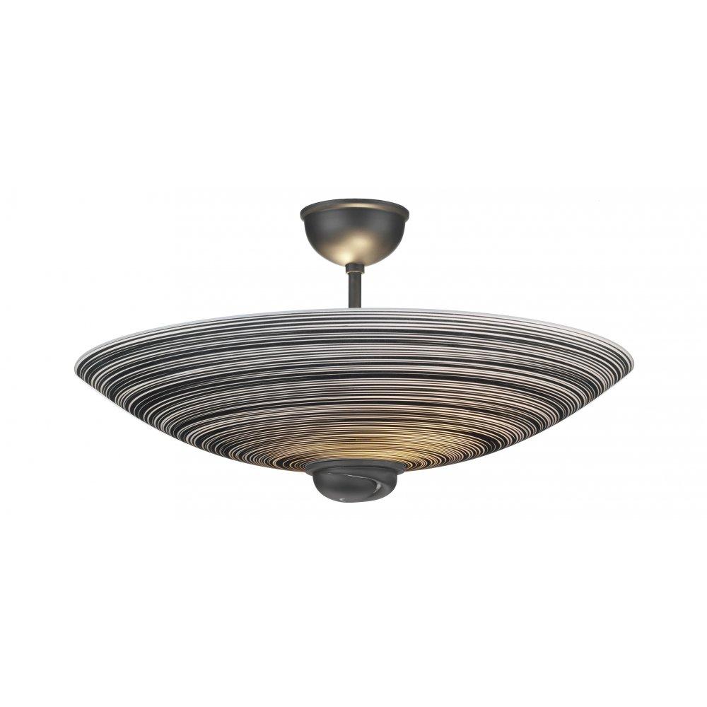 swirl ceiling uplighter semi flush for low ceilings black swirl glass. Black Bedroom Furniture Sets. Home Design Ideas