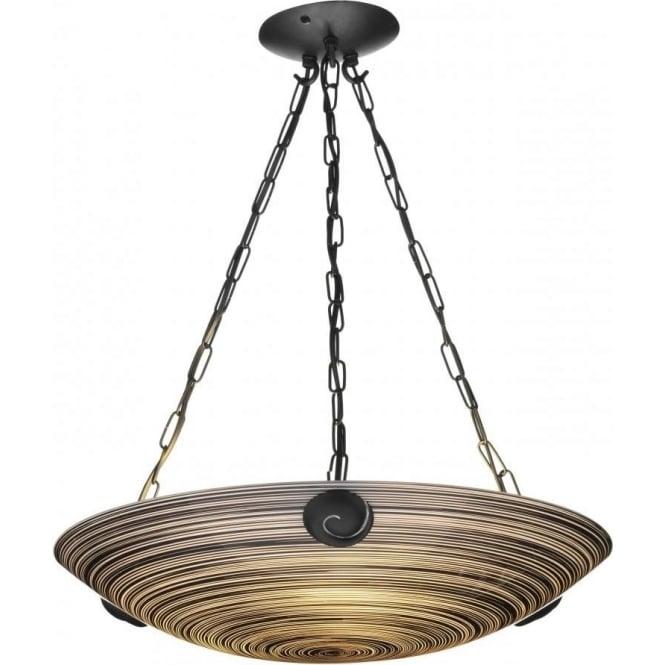 Black Ceiling Light SWIRL Pendant Uplighter Black Glass on 3 Chains