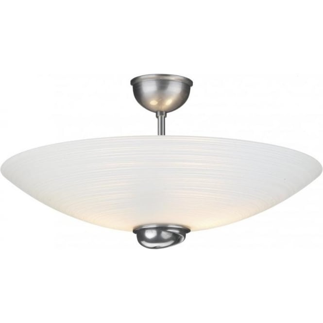 Semi Flush Ceiling Light SWIRL for Low Ceilings Pewter  White Glass