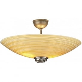 SWIRL uplighter ceiling light semi-flush amber glass