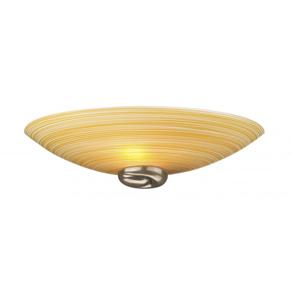 Wall Light, Uplighter Wall Washer, Amber Swirl Glass Shade