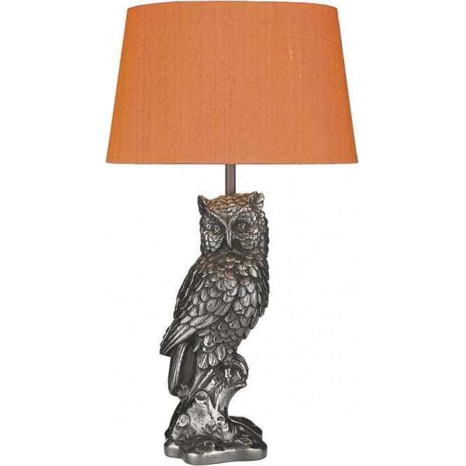 David Hunt Lighting TAWNY pewter grey owl table lamp with shade