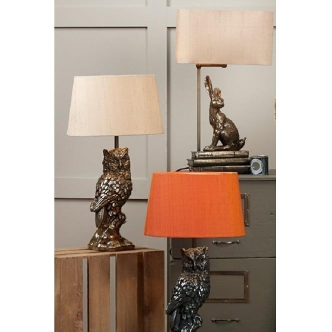 Owl Table Lamp In Pewter Cast Resin With Orange Silk Shade Tawny Pewter  Grey Owl Table