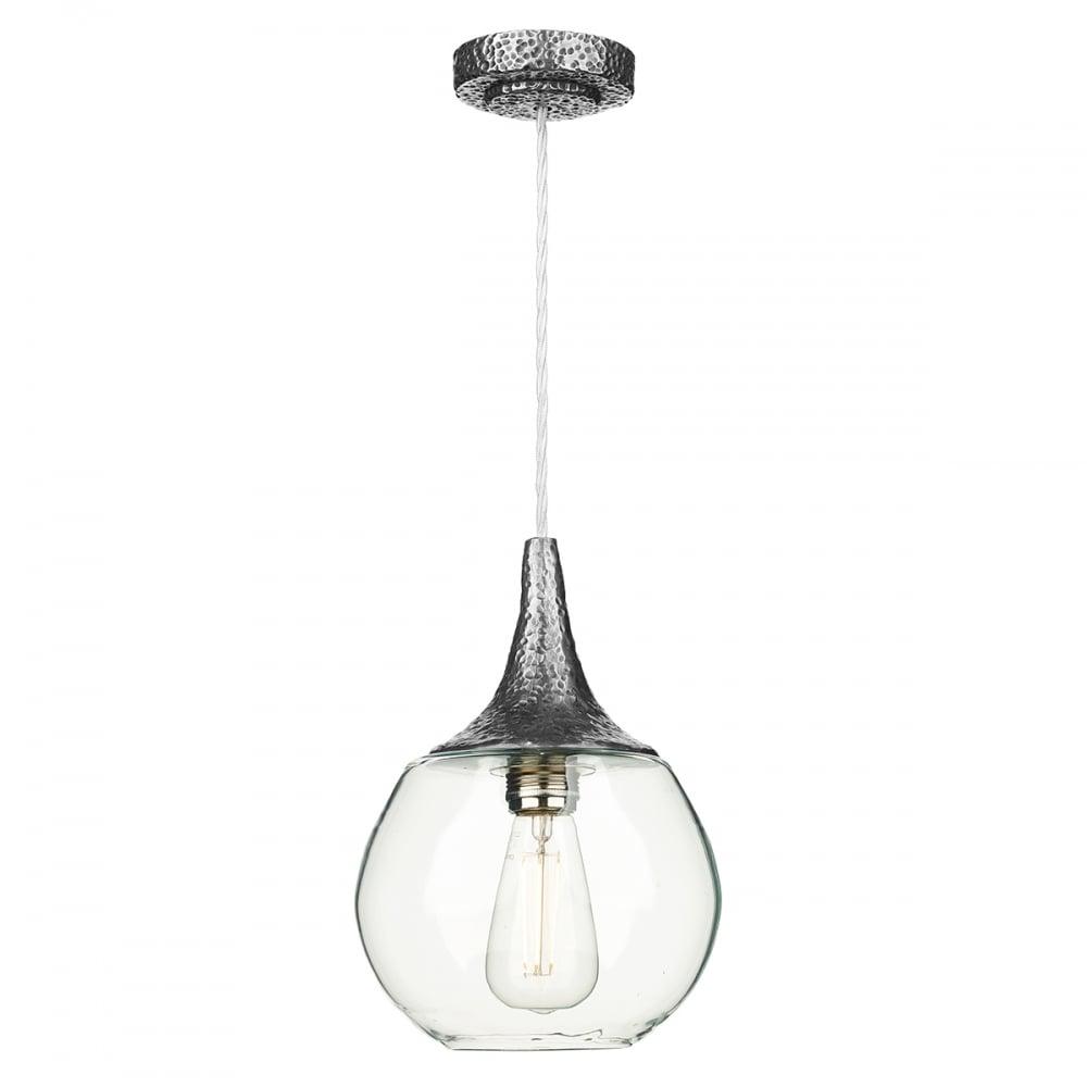 Teardrop Clear Glass Ceiling Pendant Light On Pewter