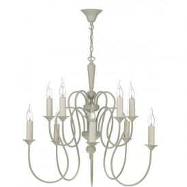 THERESE large 10 light chandelier in French cream finish