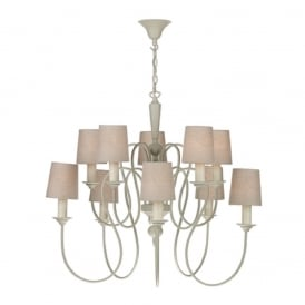 THERESE large 10 light cream chandelier with linen shades