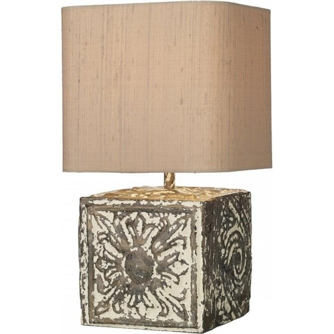 Artisan Lighting TILE bronze cream stone effect table lamp with shade