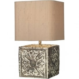 TILE bronze cream stone effect table lamp with shade