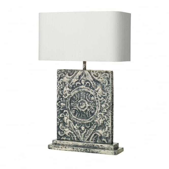 Artisan Lighting TILE large blue stone effect table lamp with ivory silk shade
