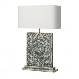 TILE large blue stone effect table lamp with ivory silk shade