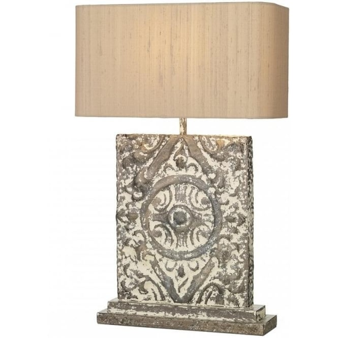 Large tile patterned table lamp distressed cream bronze silk shade tile large bronze cream stone effect table lamp with shade mozeypictures Choice Image