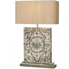 TILE large bronze cream stone effect table lamp with shade