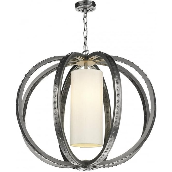 Artisan Lighting TWAIN rivited pewter orb pendant light with ivory silk shade