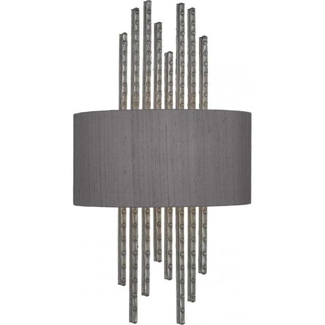 Artisan Lighting TWAIN rivited pewter wall light with charcoal silk shade