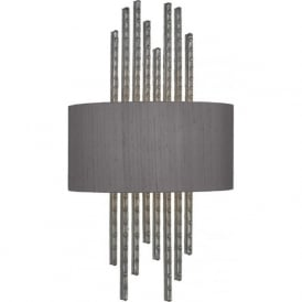 TWAIN rivited pewter wall light with charcoal silk shade