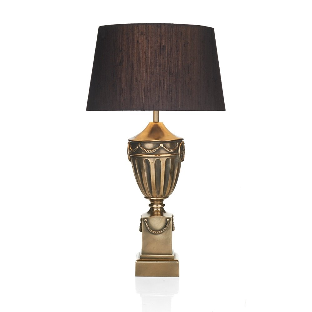 Silk Lamp Shades For Wall Lights : Traditional Urn Shaped Table Lamp with Dramatic Black Silk Shade