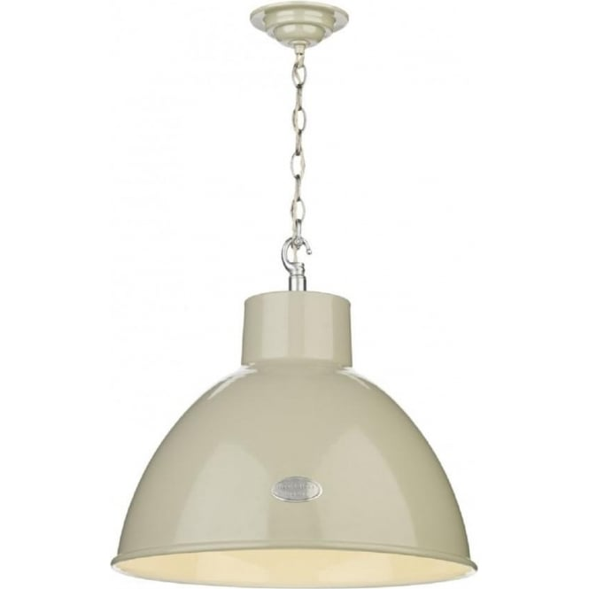 Artisan Lighting UTILITY industrial retro style cream metal ceiling pendant (large)