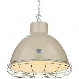 UTILITY industrial style cream ceiling pendant with chrome cage (large)
