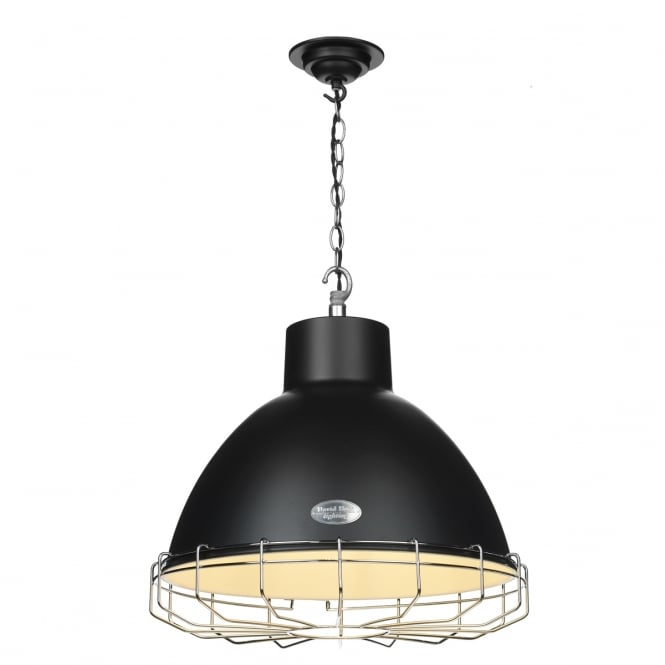Artisan Lighting UTILITY industrial style matt black ceiling pendant with chrome cage (large)