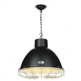 UTILITY industrial style matt black ceiling pendant with chrome cage (large)