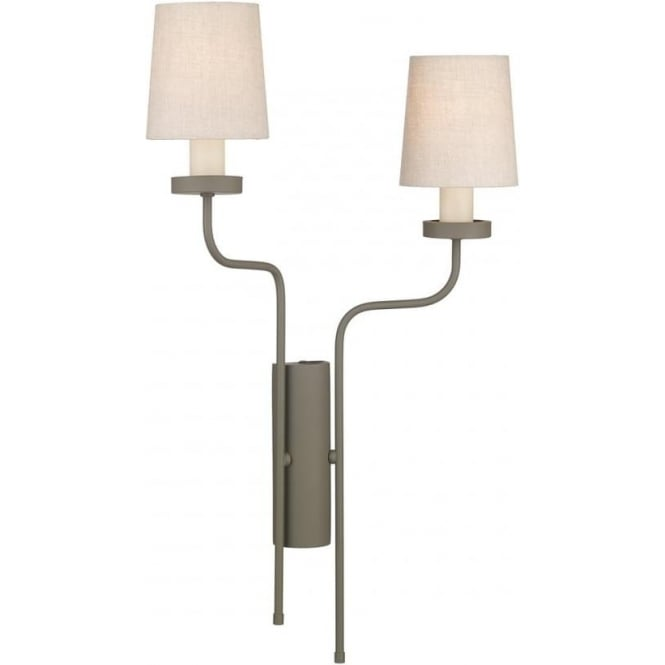 David Hunt Lighting VAIL double left facing wall light in mole brown finish with linen shades