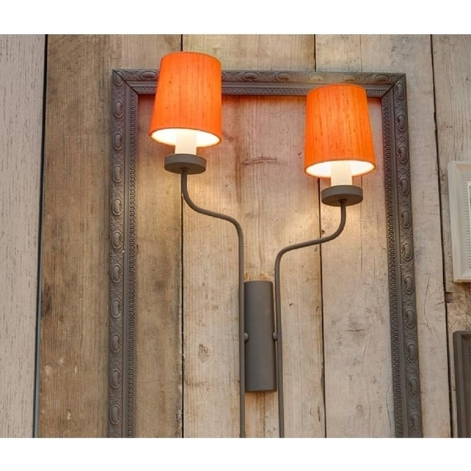 Artisan Lighting VAIL double left facing wall light in mole brown finish with vibrant orange silk shades