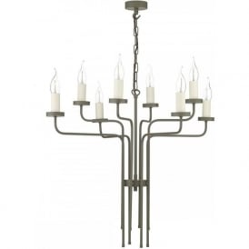 VAIL large brown painted chandelier with 8 candle lights