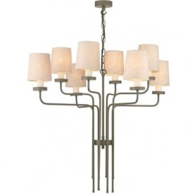 VAIL large mole brown painted chandelier with linen shades