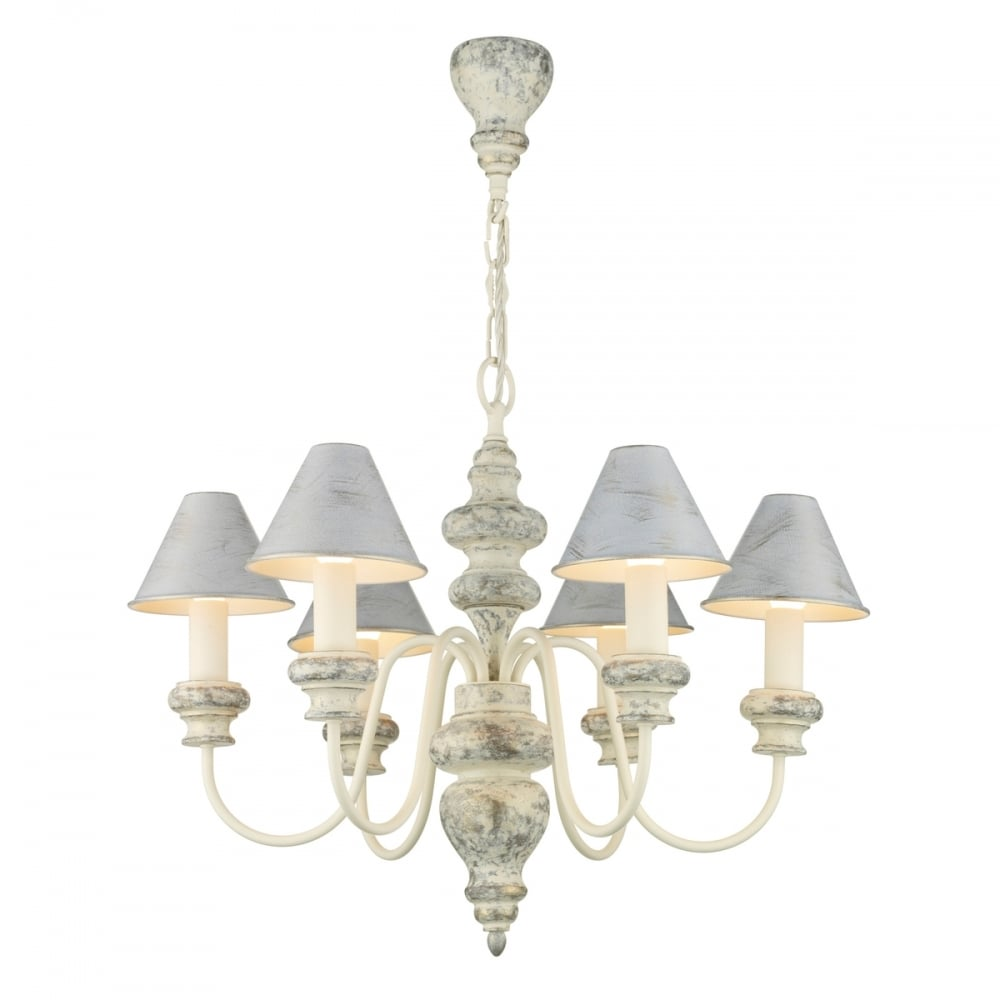 Distressed cream edwardian chandelier with matching candle shades verona edwardian chandelier in distressed cream with metal shades mozeypictures Gallery