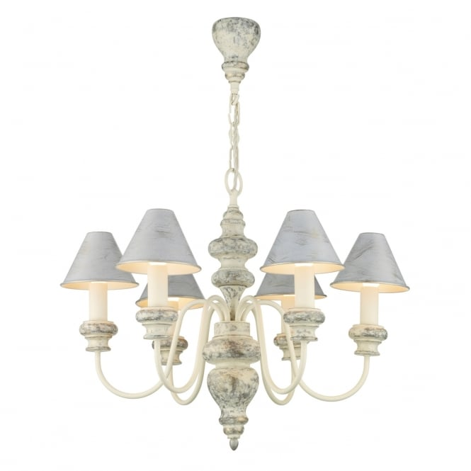 Artisan Lighting VERONA Edwardian chandelier in distressed cream with metal shades